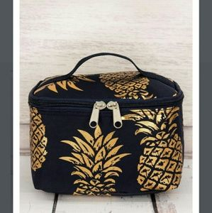Handbags - New Gold Pineapple & Navy Makeup Case / Party Case
